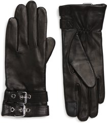 women's allsaints buckled leather gloves, size large - black