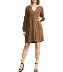 women's maternal america drawstring neck long sleeve maternity dress