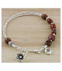 jasper beaded charm bracelet, 'red garden' (thailand)