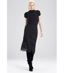 stretch knit bodysuit top, women's, black, cashmere, size l, josie natori