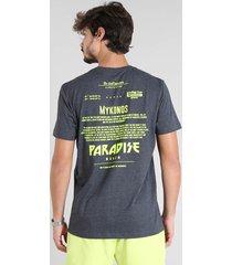 "camiseta masculina com estampa neon ""paradise beach"" manga curta gola careca cinza mescla escuro"