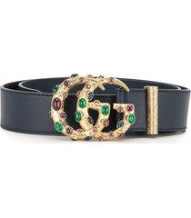 gucci crystal-embellished logo plaque belt - black
