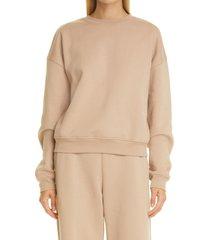 women's frame oversize crewneck sweatshirt, size small - beige