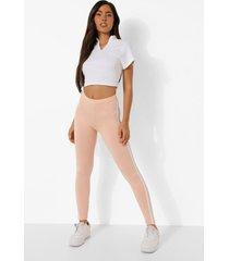 perzik kleurige leggings met dubbele zijstreep, peach