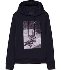 see no evil hoodie, graphite blue