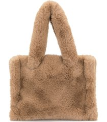 stand studio faux-fur tote bag - brown