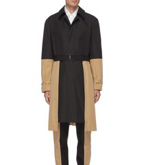 contrast front panel belted trench coat