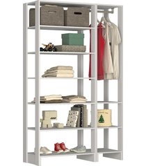 guarda roupa closet 2 peã§as c/ 1 cabideiro branco - branco - dafiti