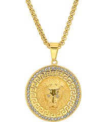 18k goldplated lion head pendant necklace