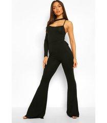 asymetrische one piece met uitsnijding en broek met uitlopende pijpen set, black