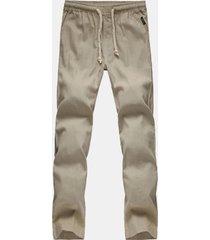 mens plus taglia lino tinta unita elastico in vita con coulisse in lino per il tempo libero pantaloni
