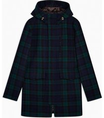 mens selected homme navy recycled wool blend check parka