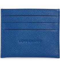women's longchamp 'le foulonne' pebbled leather card holder - blue