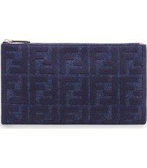 fendi medium flat pouch - blue