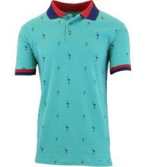 galaxy by harvic men's short sleeve printed pique polo shirts