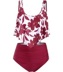 floral flounce ruched tankini swimsuit