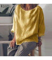 zanzea para mujer cuello redondo de manga larga tops casuales holgados camisas blusas solid -amarillo