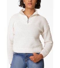 ultra flirt juniors' chenille zip-neck sweater