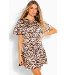 leopard cape detail skater dress, brown