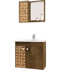 conjunto p/ banheiro munique madeira rãºstica mã³veis bechara - marrom - dafiti