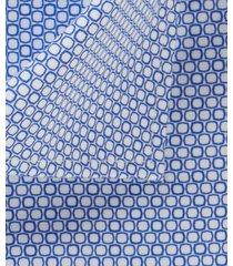 michaelis overhemd blauw print cutaway single cuff ml7 slim fit