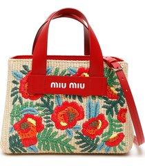 embroidered raffia tote bag