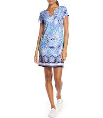 women's lilly pulitzer sophiletta upf 50+ shift minidress, size x-large - blue