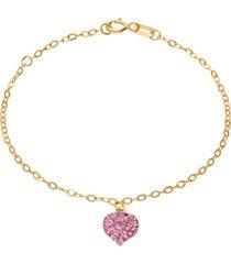 bracciale in oro giallo con ciondolo cuore e strass rosa per donna