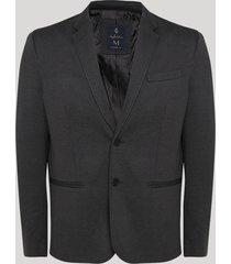 blazer masculino em piquet com botões manga longa preto