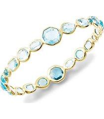 18k yellow gold & swiss blue topaz bangle bracelet