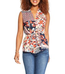 women's nic+zoe mixed blooms tie tank, size x-large - red