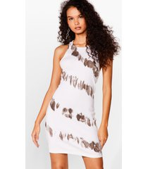 womens tie oh tie dye racerback mini dress - cream