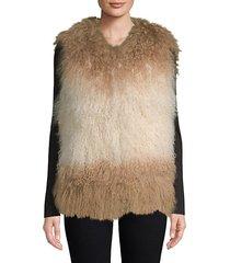 dyed lamb fur vest