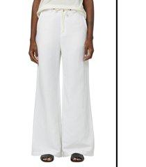 hudson jeans high waist drawstring wide leg trouser jeans, size 30 in star white at nordstrom