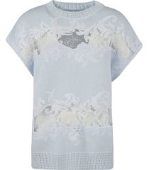 ermanno scervino floral embroidered cut-out detail sweatshirt