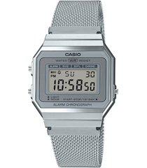 casio unisex digital stainless steel mesh bracelet watch 35.5mm