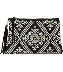 embellished faux suede clutch
