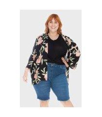 kimono floral plus size bold feminino