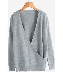 maglione con scollo a v in tinta unita lavorato a maglia