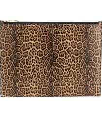 saint laurent large leopard-print clutch - brown