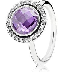 anel de prata círculo brilhante lavanda