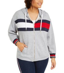 tommy hilfiger sport plus size flag colorblocked zip-front hooded sweatshirt