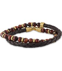 esquire men's jewelry double-wrap tiger's eye bracelet in 14k gold over sterling silver