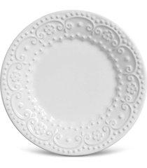 conjunto 6pã§s prato sobremesa 20cm flat fraise branco. - branco - dafiti