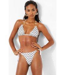 jacquard bikini broekje met ring detail en zijstrikjes, white