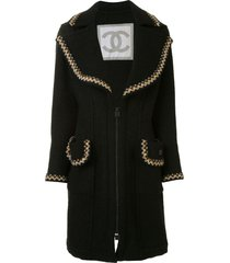 chanel pre-owned 2006 sports braided trim coat - black