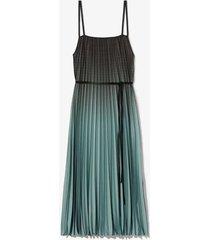 ombré plaid pleated dress