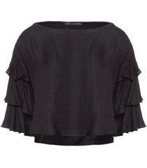blusa manga 3 camadas fyi - preto