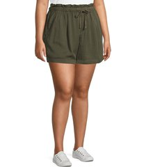 sanctuary women's plus paperbag waist short - dark olive - size 3x (22-24)