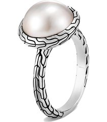 'classic chain' freshwater pearl sterling silver ring